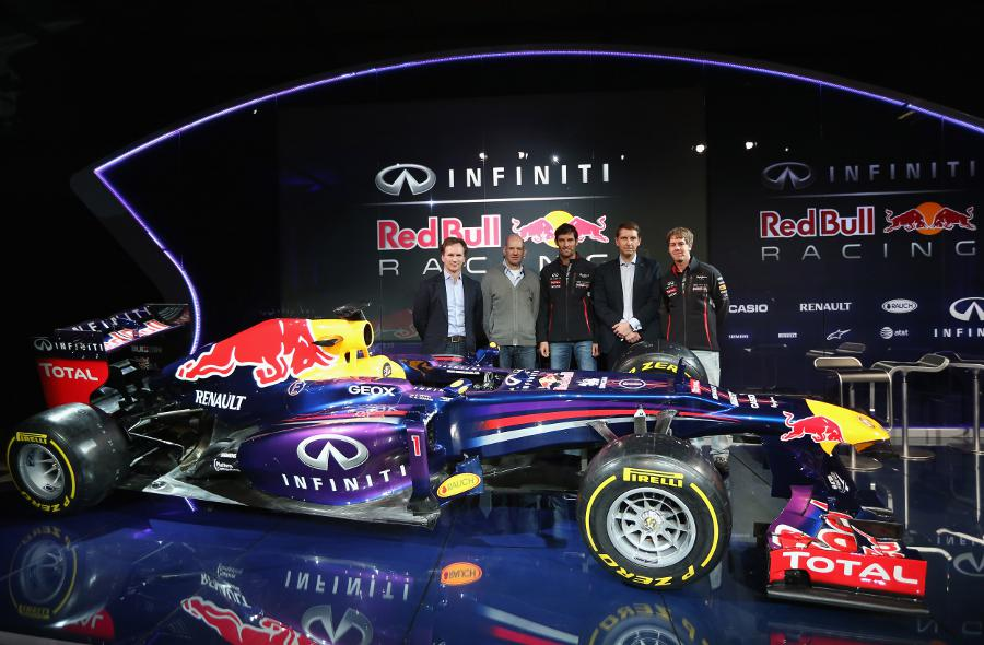 Christian Horner, Adrian Newey, Mark Webber, Simon Sproule of Infinti and Sebastian Vettel pose with the Red Bull RB9
