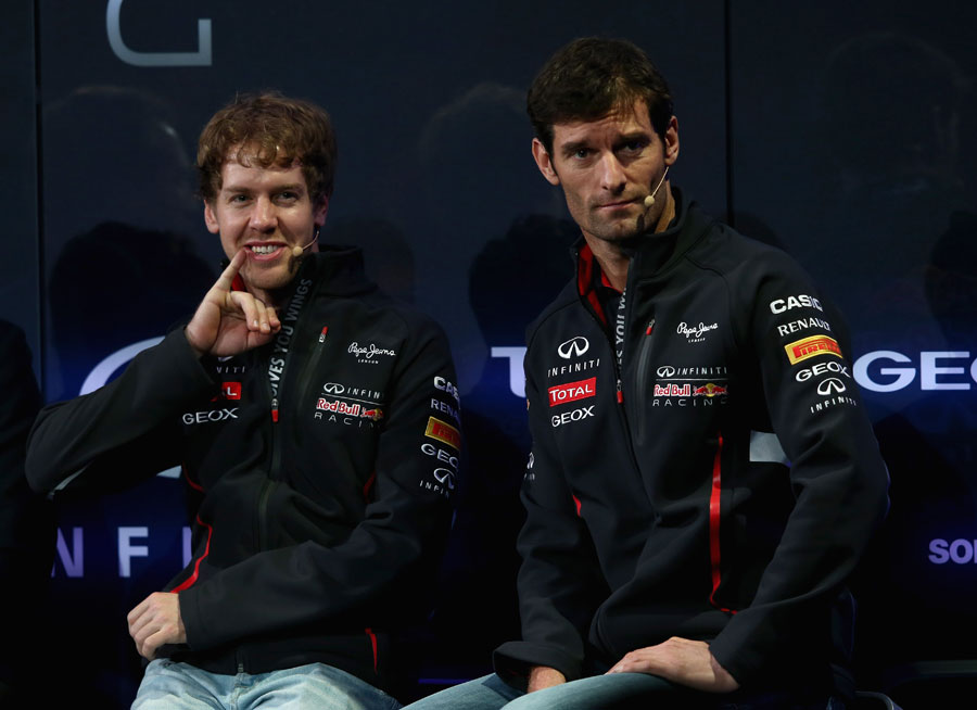 Sebastian Vettel and Mark Webber at the launch of the Red Bull RB9