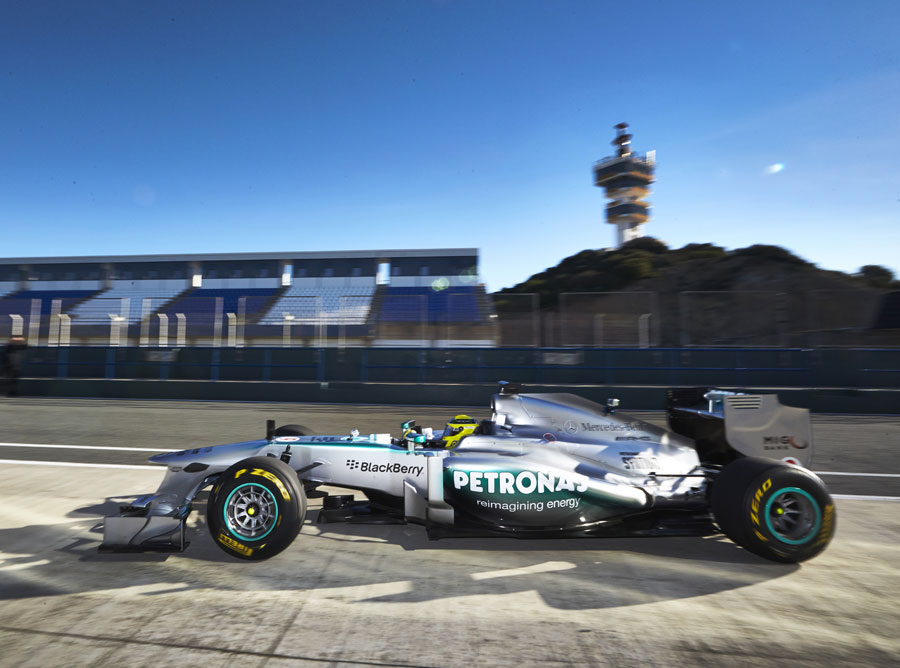 Nico Rosberg drives the new Mercedes W04 during a filming day