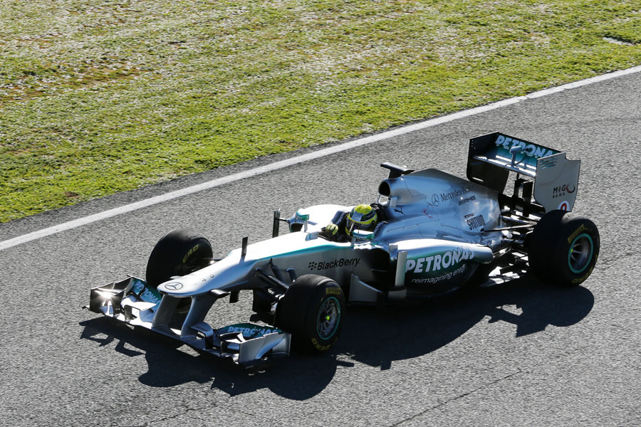 Nico Rosberg driving the new Mercedes W04 during a filming day