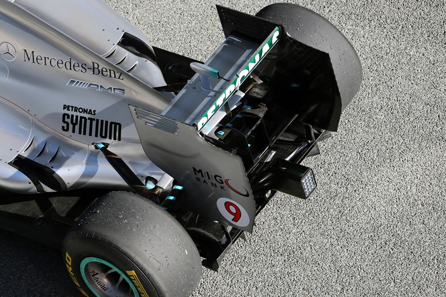 The rear of the new Mercedes W04