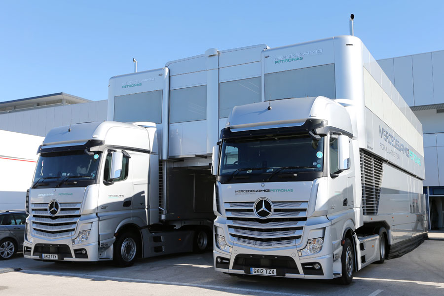 Mercedes transporters in the paddock on Monday