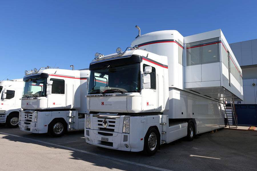 Sauber transporters in the paddock on Monday