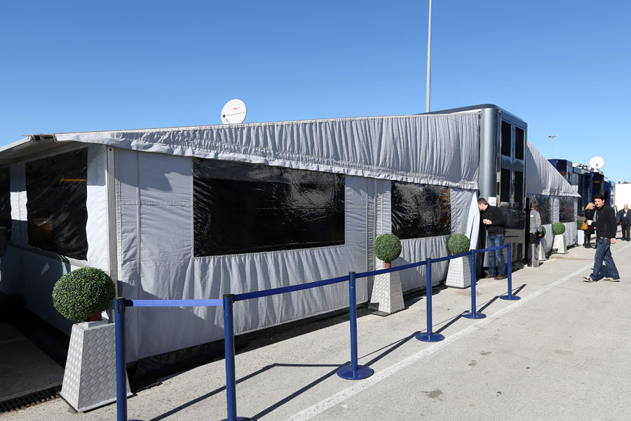 Mercedes hospitality in the paddock in Jerez