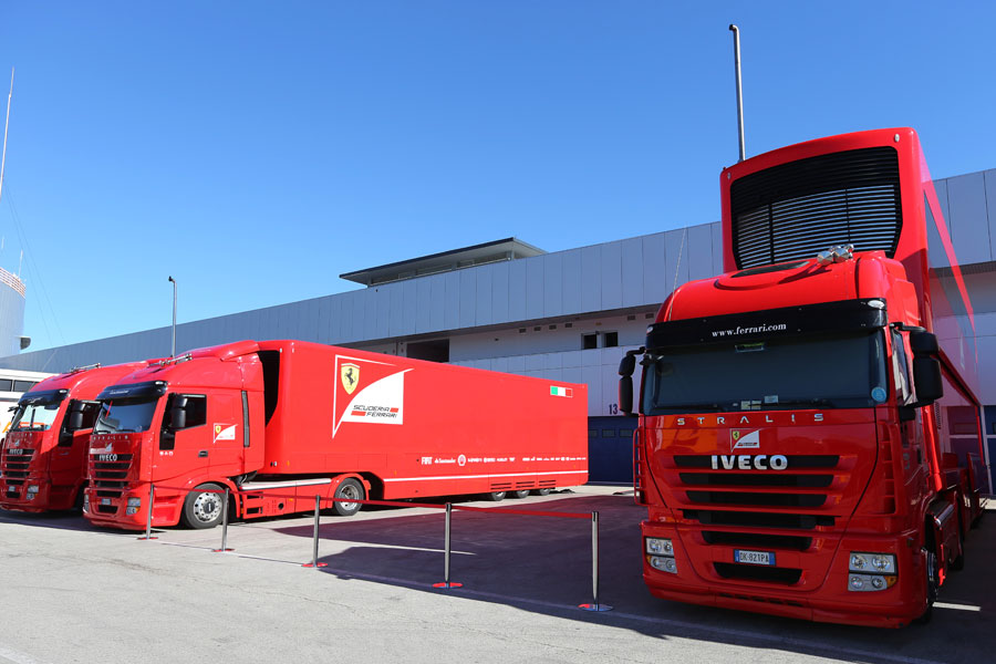 Ferrari transporters in position in Jerez