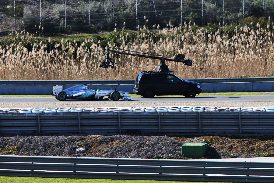 Nico Rosberg during a filming run in the W04