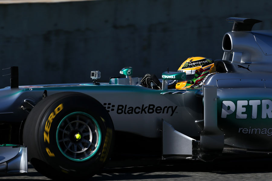 Lewis Hamilton on track in the new Mercedes W04 for the first time