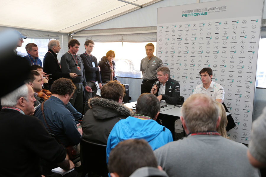 Ross Brawn and Toto Wolff face the media after the launch of the W04