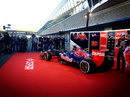 The new Toro Rosso STR8 in the Jerez pit lane
