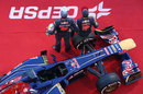 Jean-Eric Vergne and Daniel Ricciardo pose with the Toro Rosso STR8