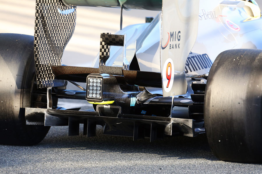 The diffuser on Nico Rosberg's W04