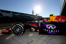 Mark Webber heads out in to the sunshine in the RB9