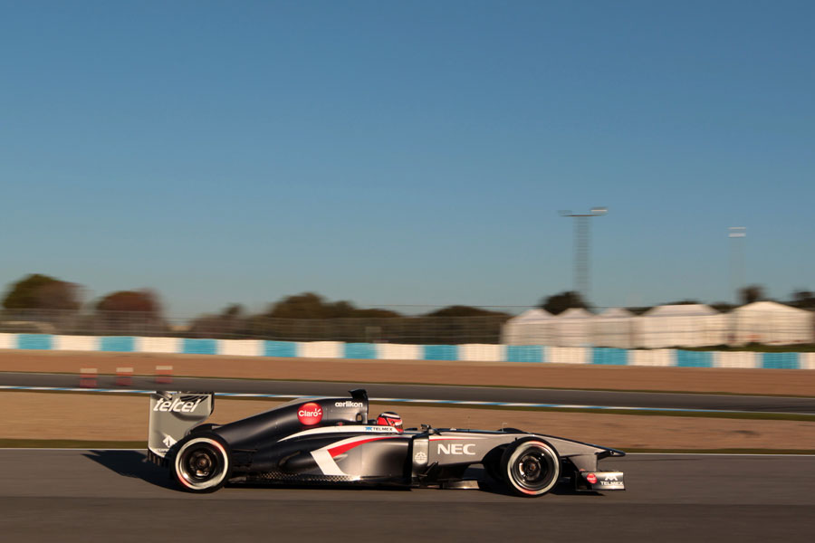 Nico Hulkenberg at speed in the C32