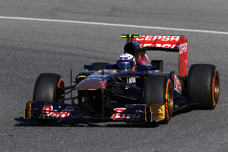 Daniel Ricciardo catches a touch of oversteer