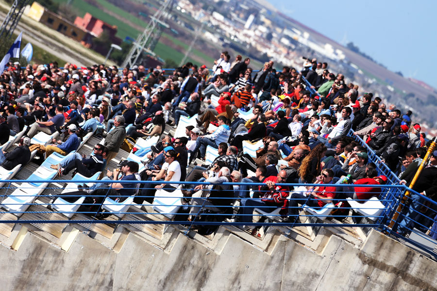 Fans in the Jerez grandstands