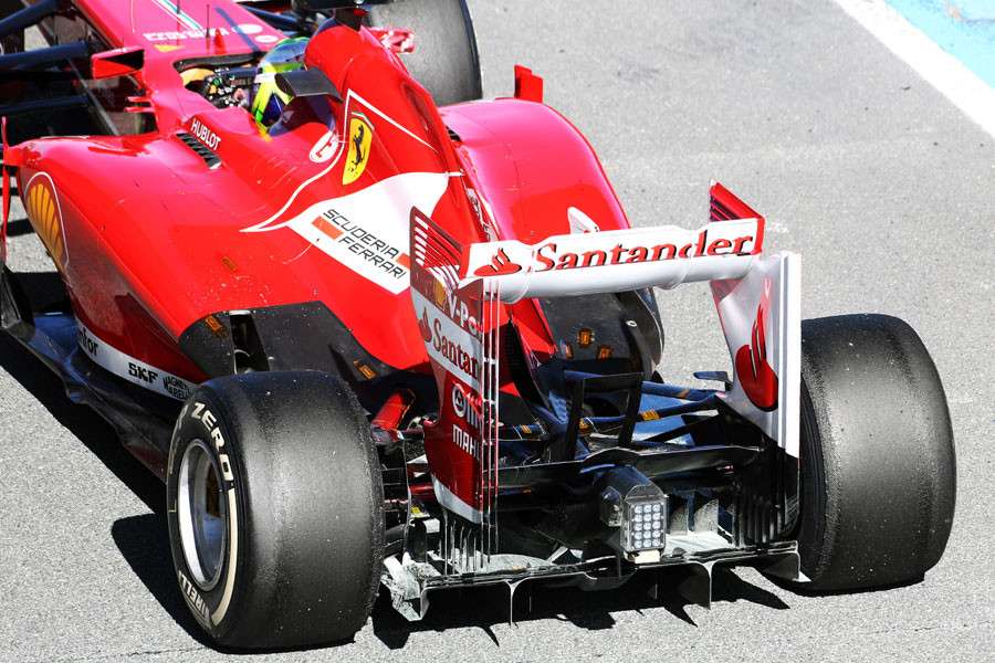 Felipe Massa with an aero device on the F138's rear wing