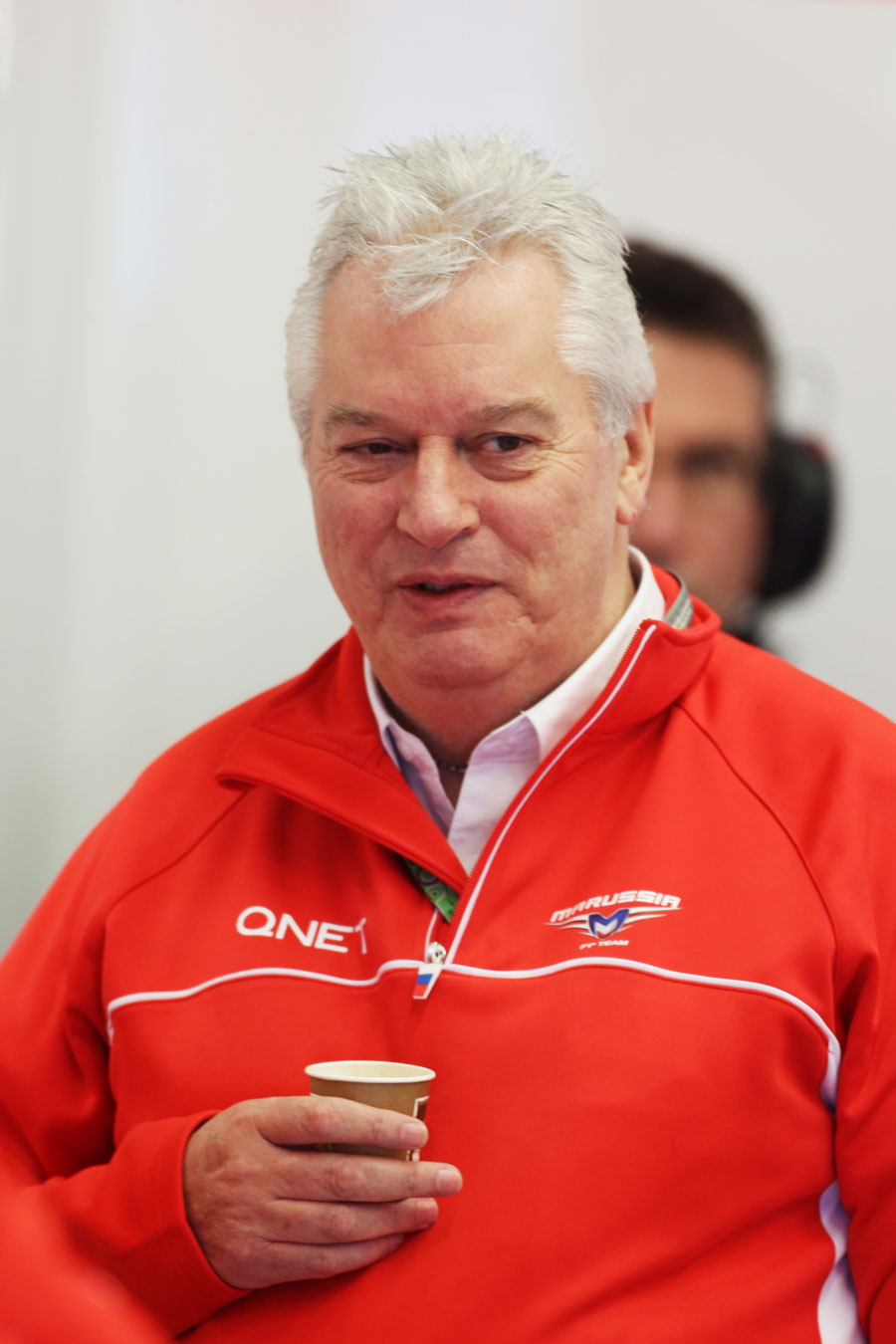 Technical director Pat Symonds in the Marussia garage