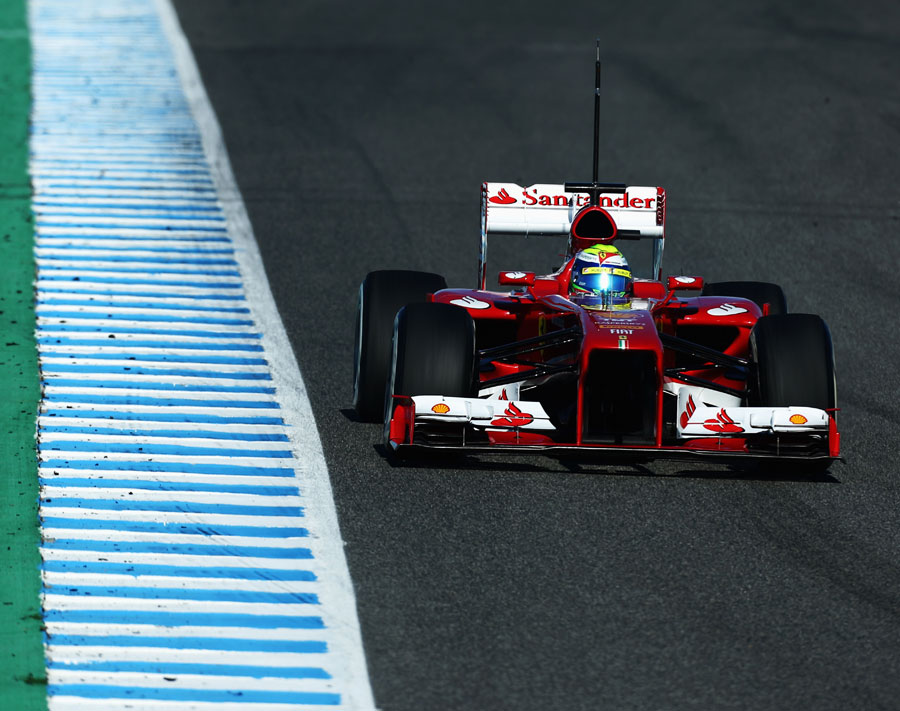 Felipe Massa picks his turn in point in the Ferrari F138