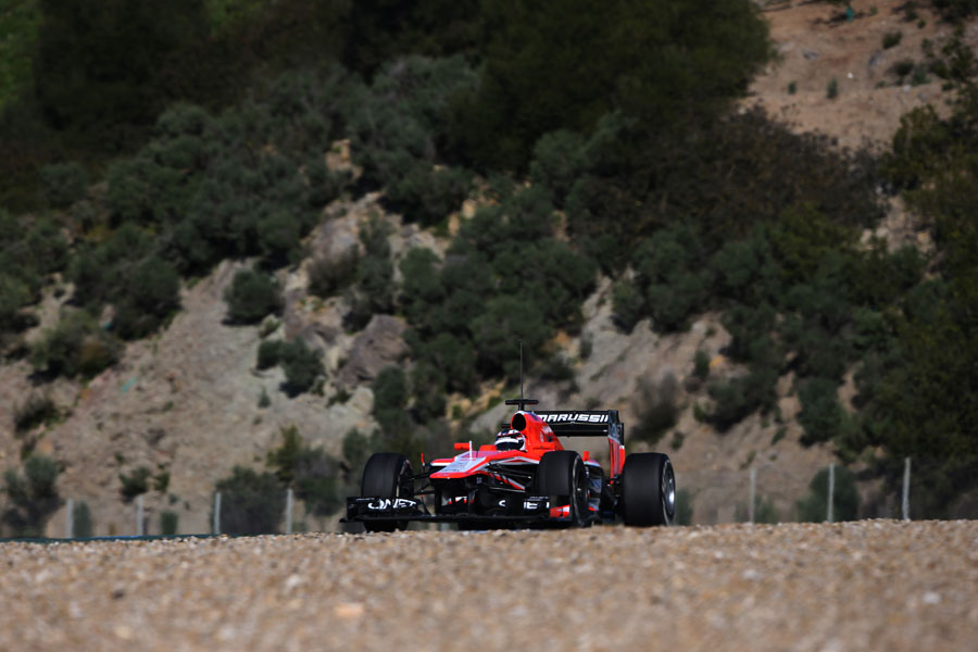 Max Chilton completes a run on medium tyres