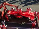 Pedro de la Rosa's Ferrari returns to the pits