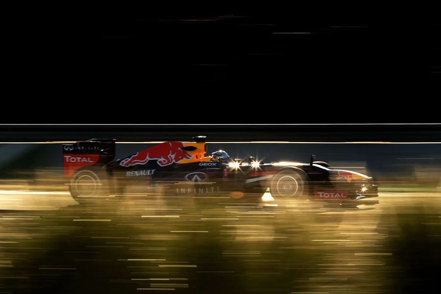 Sebastian Vettel at speed in the RB9