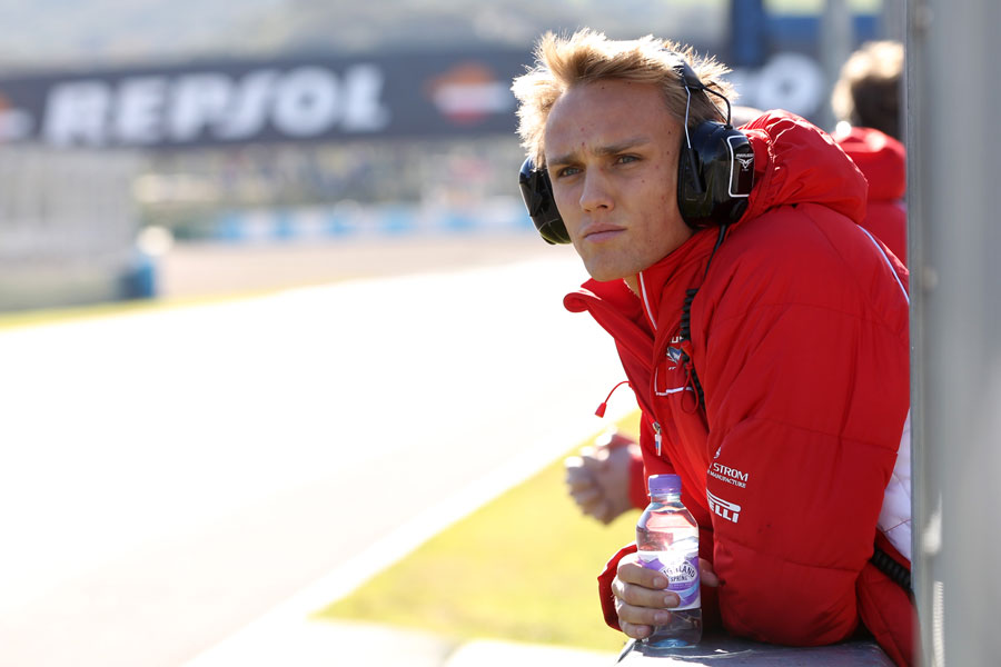Max Chilton watches proceedings from the pit wall