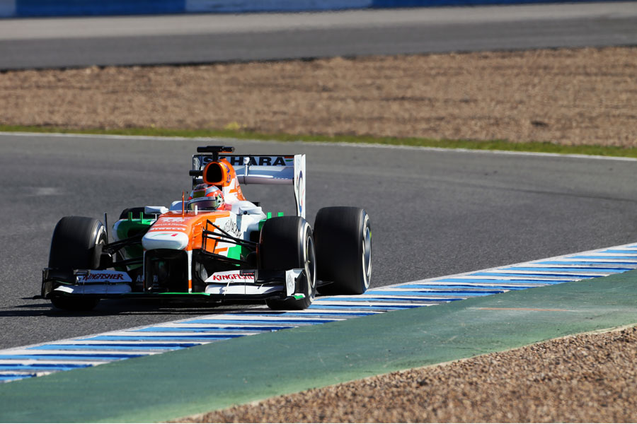 Jules Bianchi in the VJM06 on medium tyres