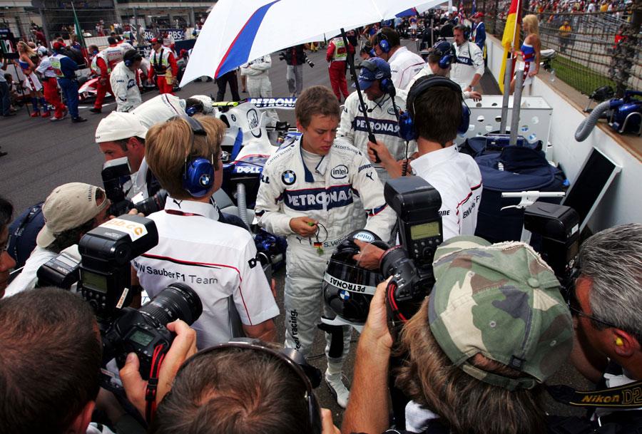 Sebastian Vettel prepares for the start of his debut race