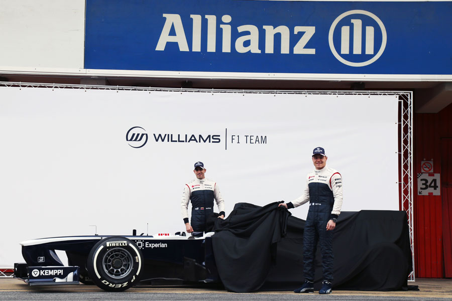 Pastor Maldonado and Valtteri Bottas pull the covers off the new Williams
