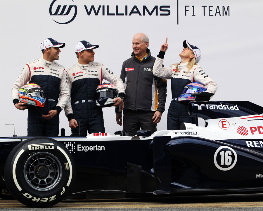 Pastor Maldonado, Valtteri Bottas, Renault's Jean-Michel Jalinier and Susie Wolff with the new Williams FW35