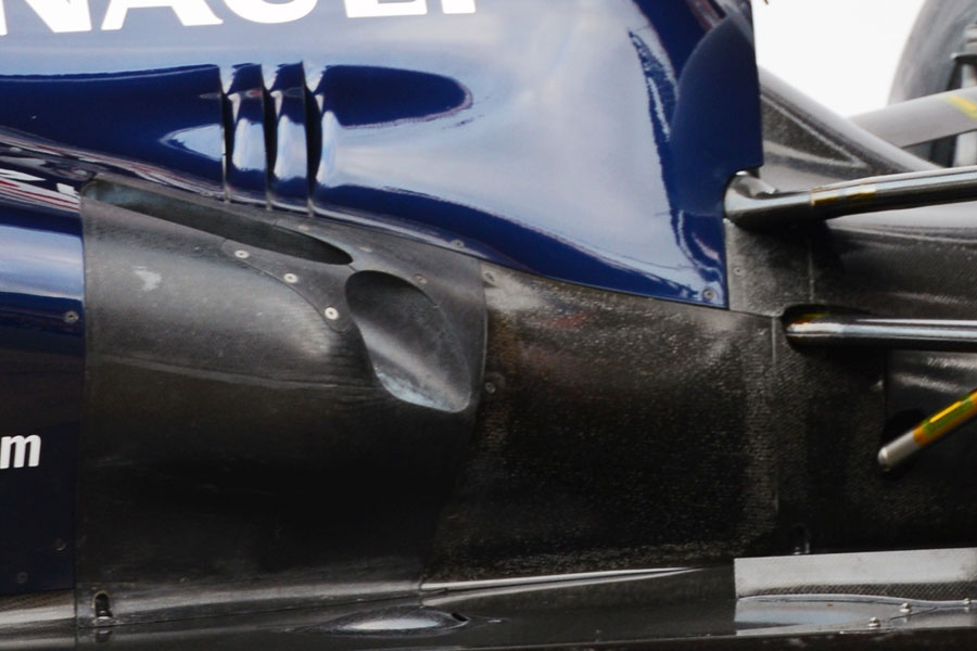 A close-up of the Williams FW35's exhaust