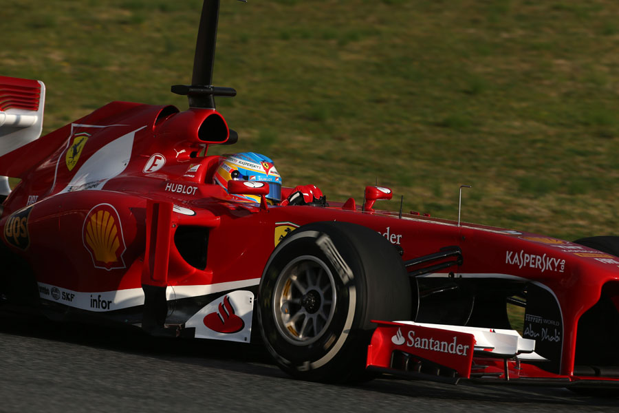 Fernando Alonso on track in the new Ferrari