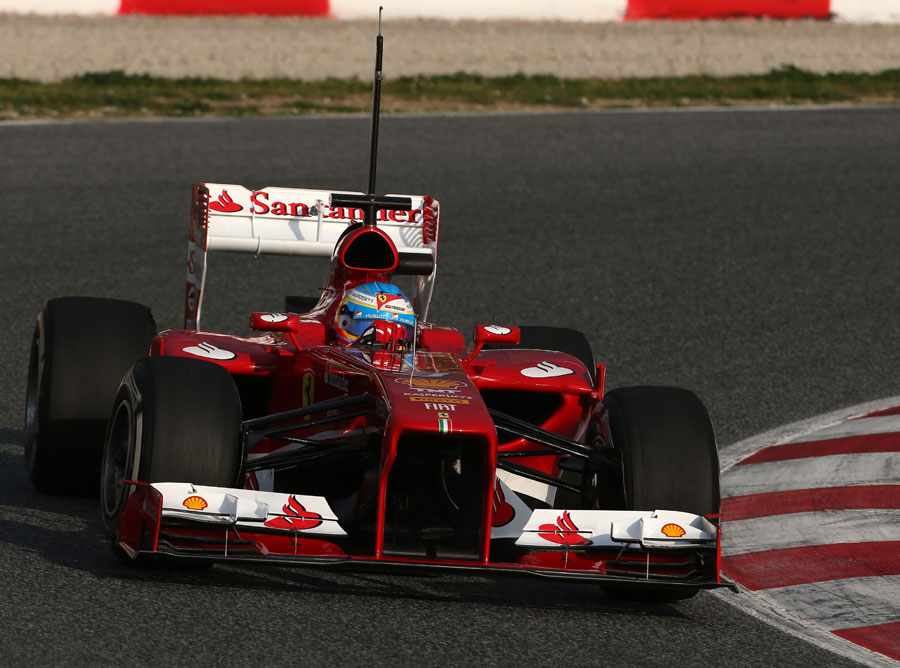Fernando Alonso searches for the apex in the Ferrari F138