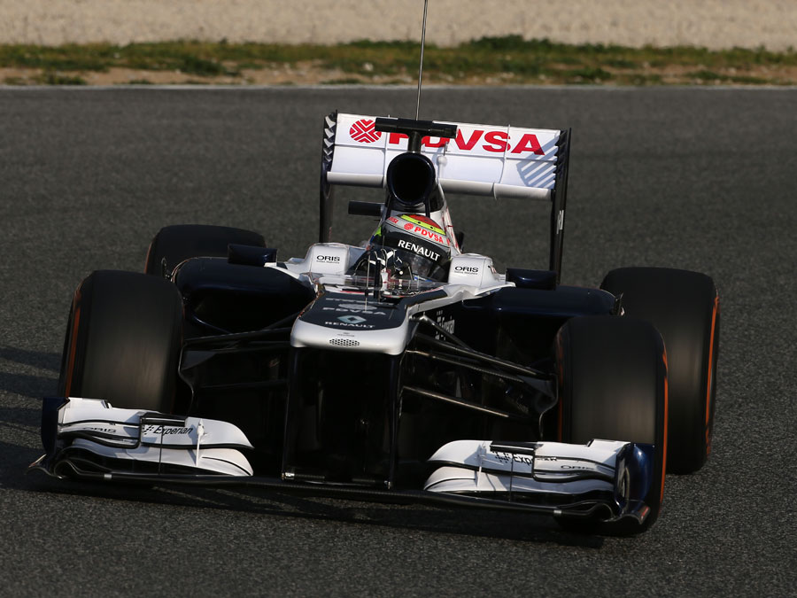 Pastor Maldonado puts the new Williams FW35 through its paces