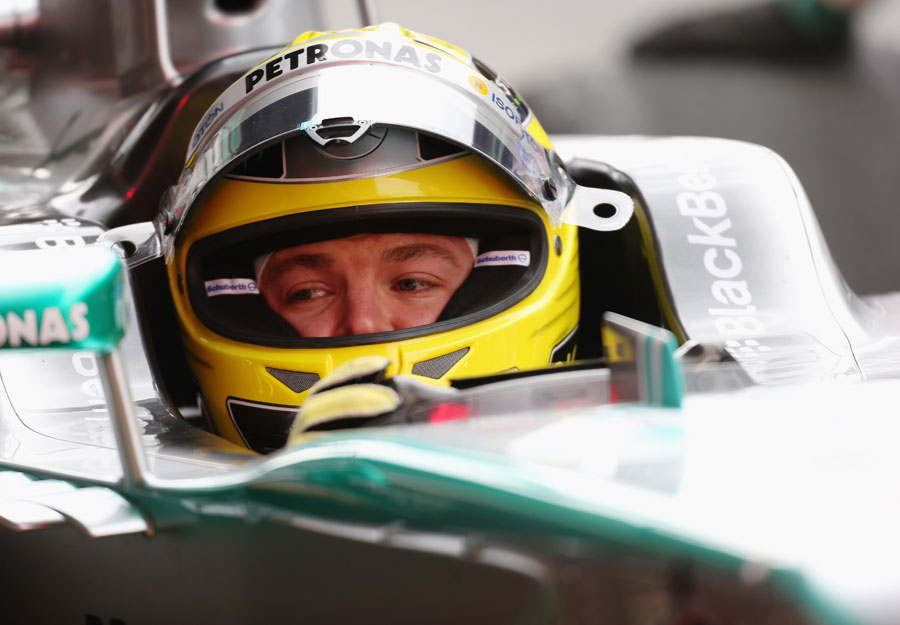 Nico Rosberg in the cockpit of the Mercedes W04