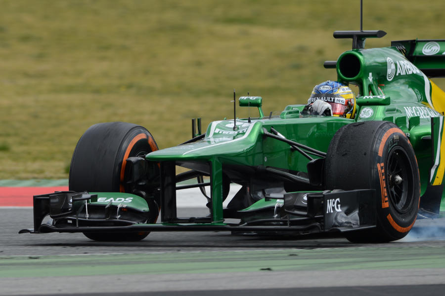 Charles Pic locks up on the hard tyres