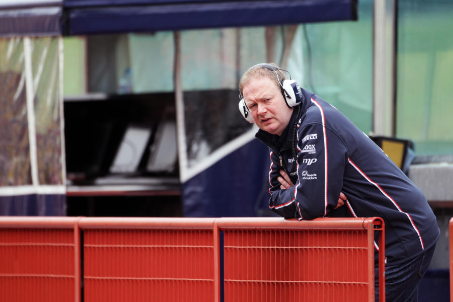 Williams technical director Mike Coughlan watches on from the pit wall
