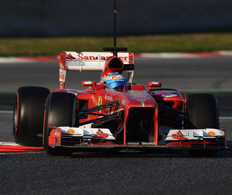 Fernando Alonso puts more mileage on the Ferrari F138