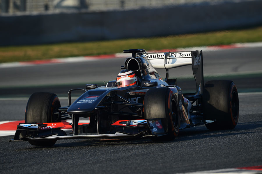 Nico Hulkenberg on track in the Sauber