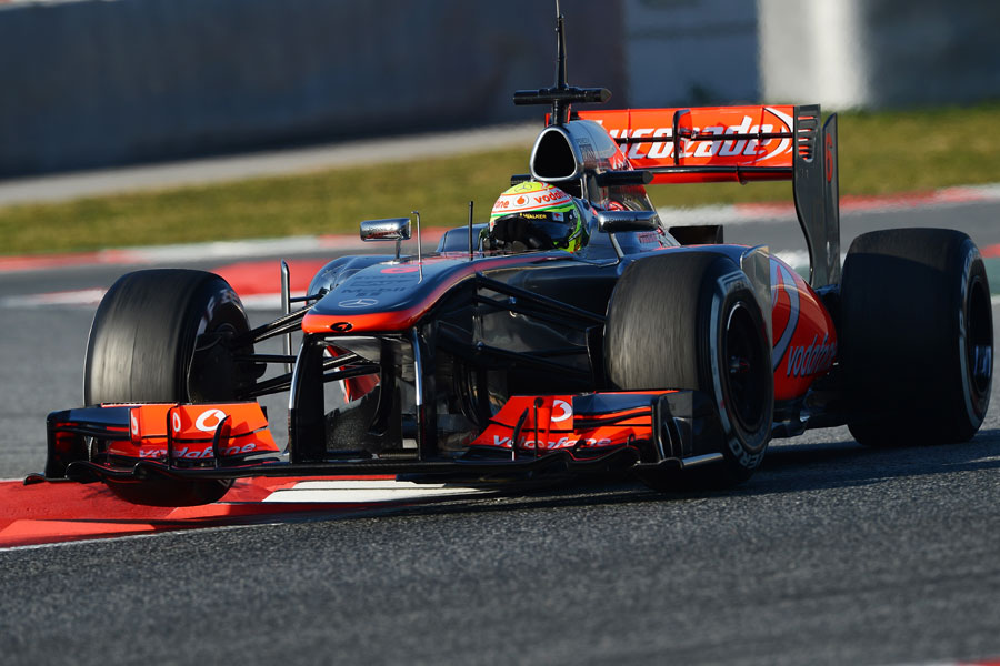 Sergio Perez attacks the chicane in his McLaren