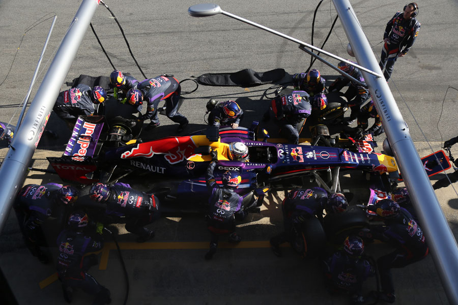 Sebastian Vettel makes a pit stop