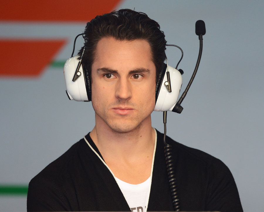 Adrian Sutil in the Force India garage on Wednesday