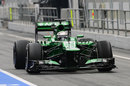 Guido van der Garde heads out in the Caterham CT03