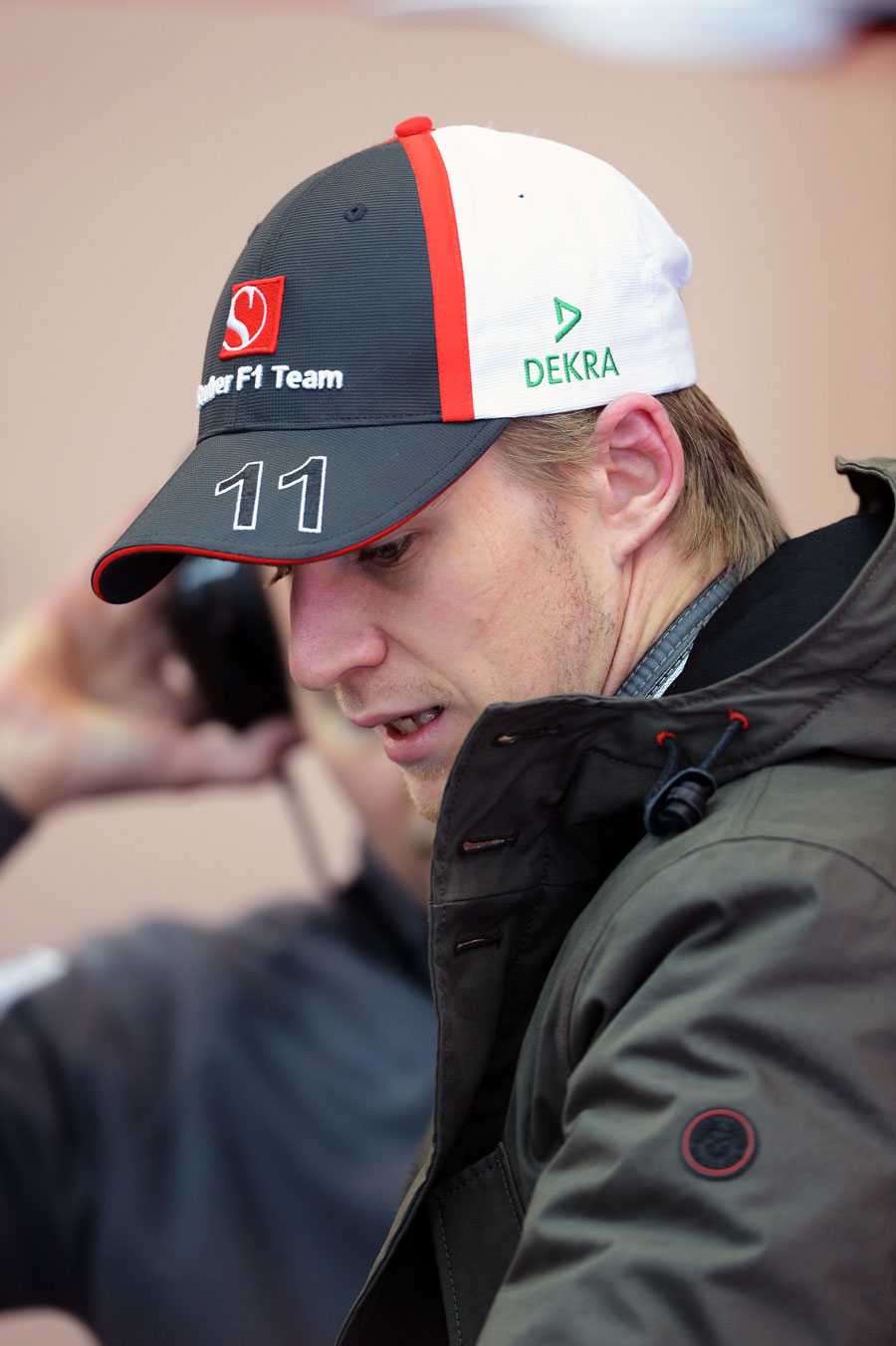 Nico Hulkenberg in the Sauber garage