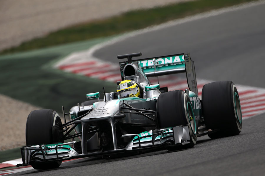 Nico Rosberg on track in the Mercedes W04