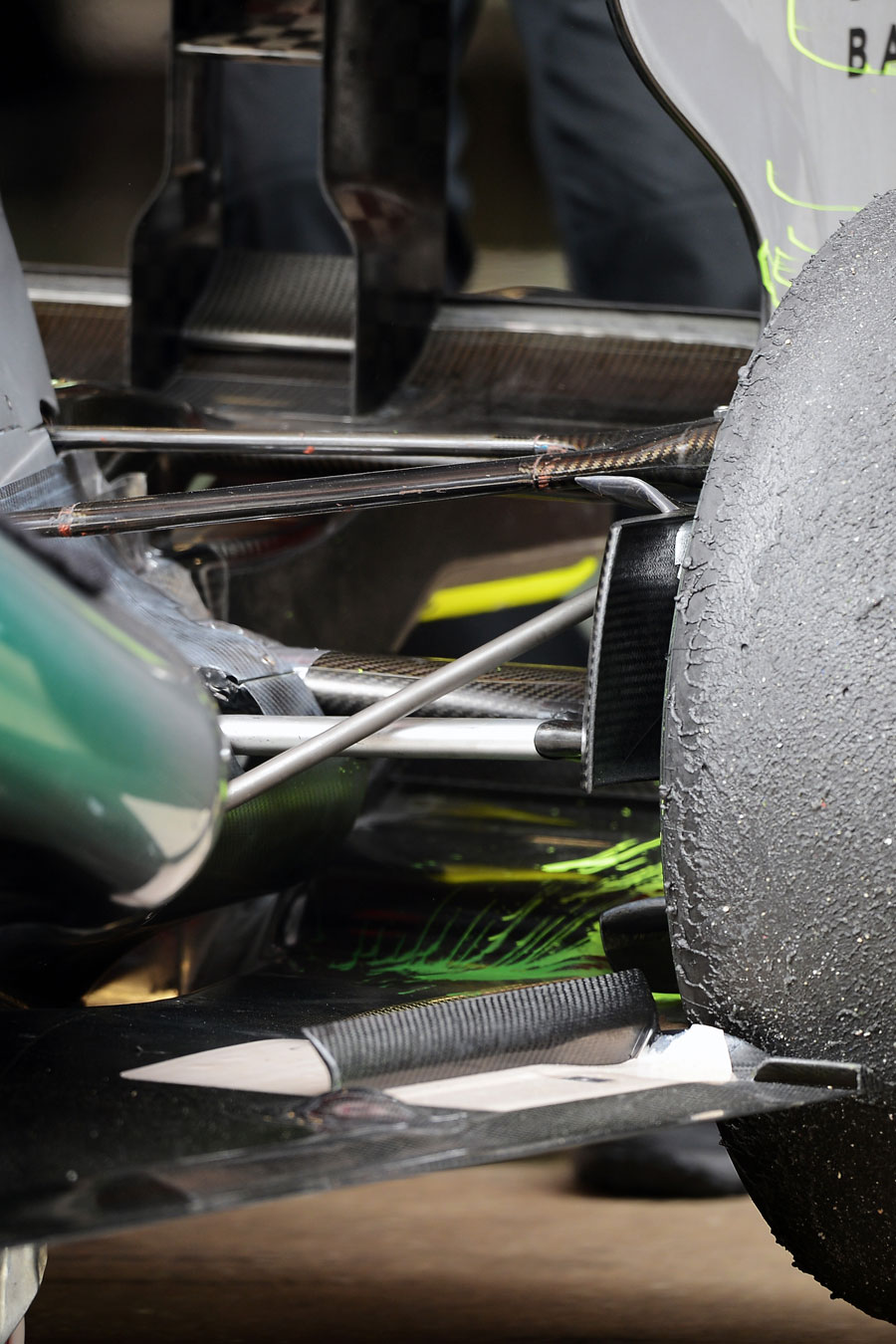 Exhaust detail and aero paint on the Mercedes W04