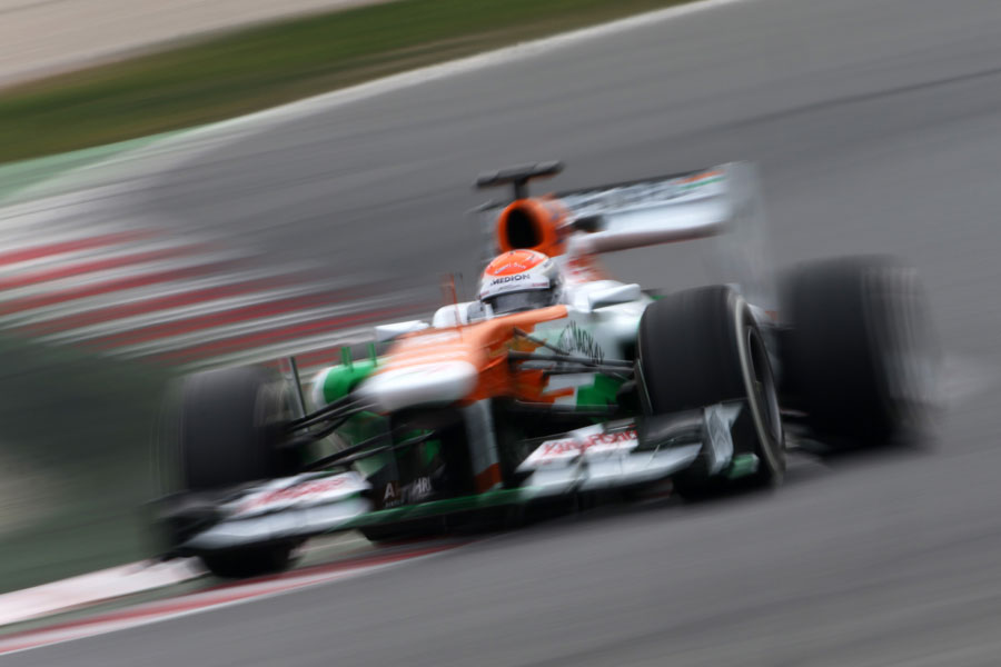 Adrian Sutil puts the Force India through its paces