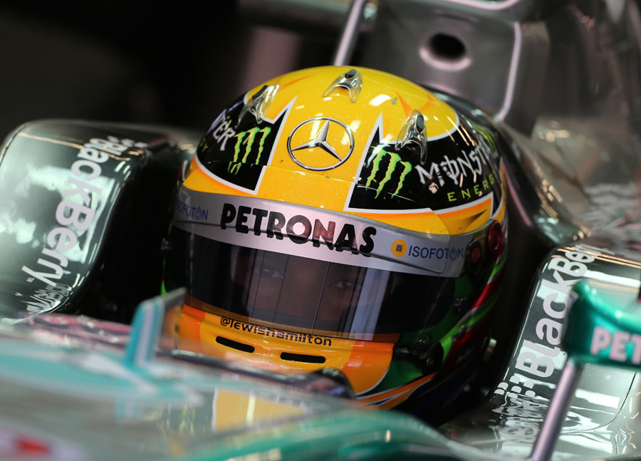 Lewis Hamilton in the cockpit of the Mercedes