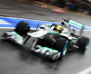 Lewis Hamilton heads out of the pits on wet tyres