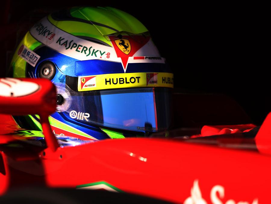 Felipe Massa leaves the Ferrari garage